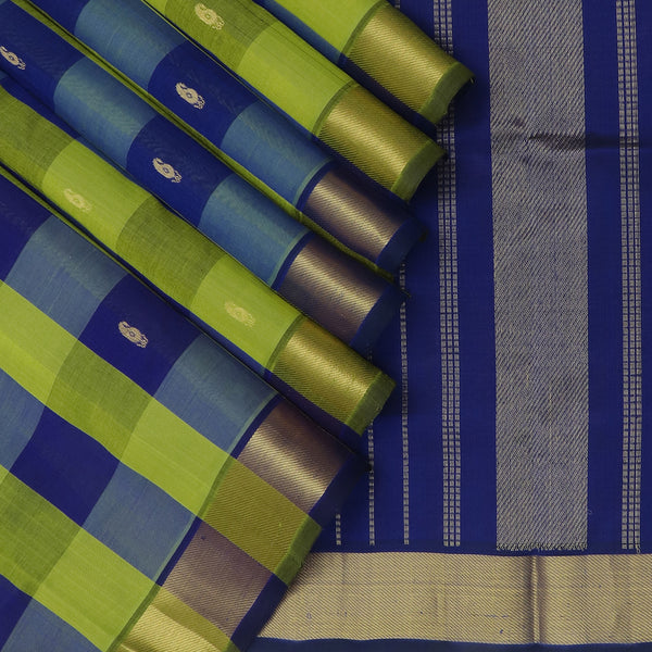 Silk Cotton Saree Pazhum Pazhamum Checks Mehandi Green and Blue with Buttas and zari Border