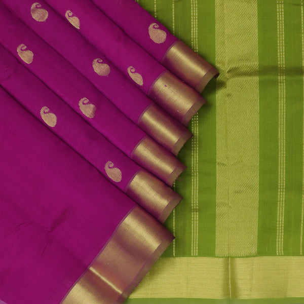 Silk Cotton Saree Magenta with Buttas and Mehandi Green with zari border