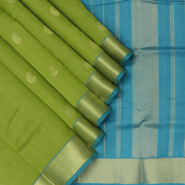 Silk Cotton Saree Mehandi green with buttas and Sky Blue with Zari border