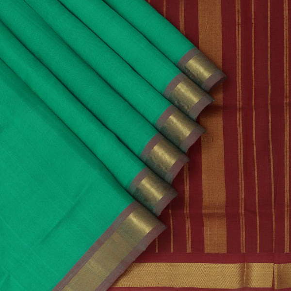 Silk Cotton Saree Jungle Green and Maroon with Zari border