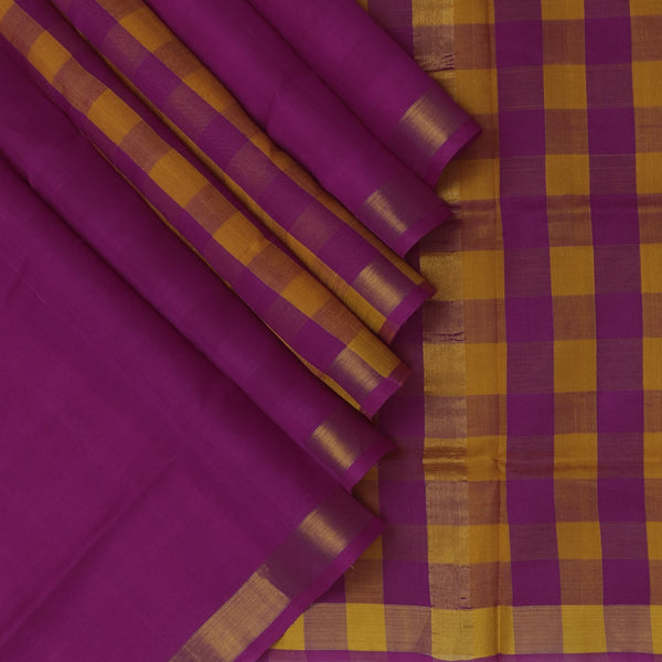 Silk Cotton Saree Magenta and Honey color Checks Partly with Zari Border