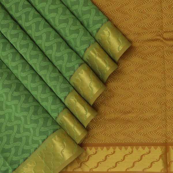 Semi Silk Cotton Saree-Green and Mustard with Temple zari border Jacquard