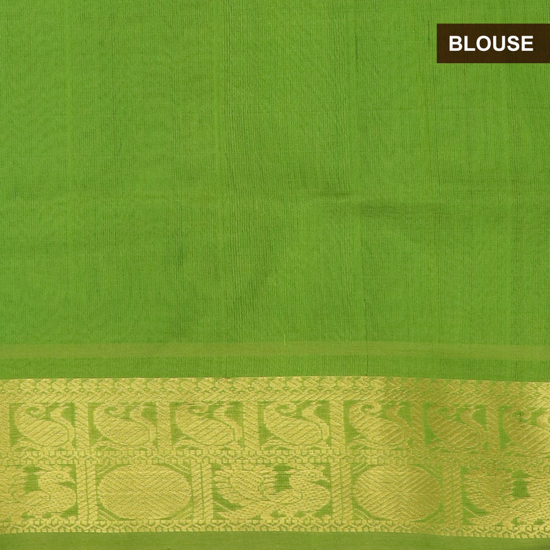Silk cotton Saree Sky Blue and Mehandi Green with Mango And annam Zari Border