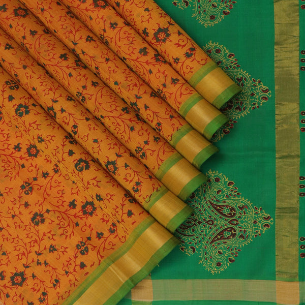 Printed Silk cotton Saree Honey color with and Green with Zari border