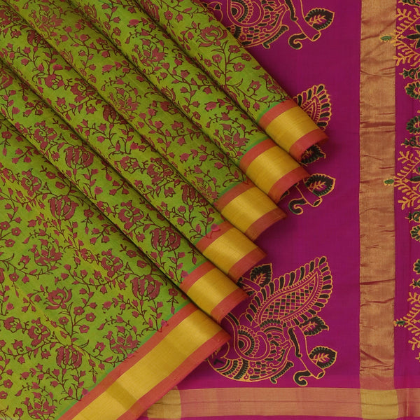 Printed silk Cotton Saree Mehandi Green and Pink with Simple zari Border