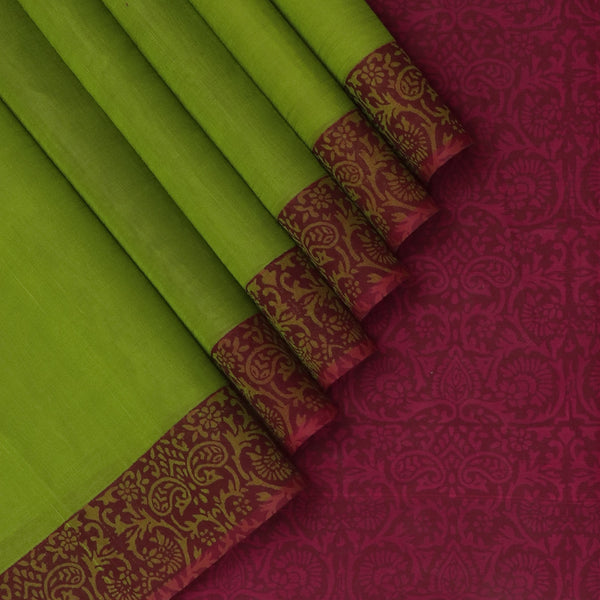 Printed silk cotton Saree Mehandi Green and Magenta with Floral border