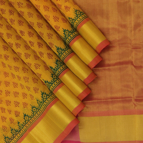 Printed silk cotton Saree Honey color and Pink With Simple Zari border