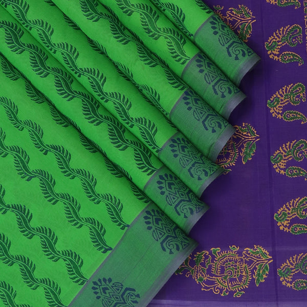 Printed Silk cotton Saree Light Green and Indigo Blue with simple border