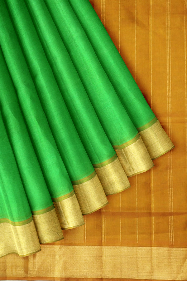 Silk Cotton Saree Light Green and Honey Color with Zari border