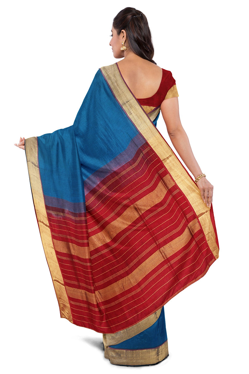 Silk Cotton Saree Cerulean Blue and Maroon with Zari Border