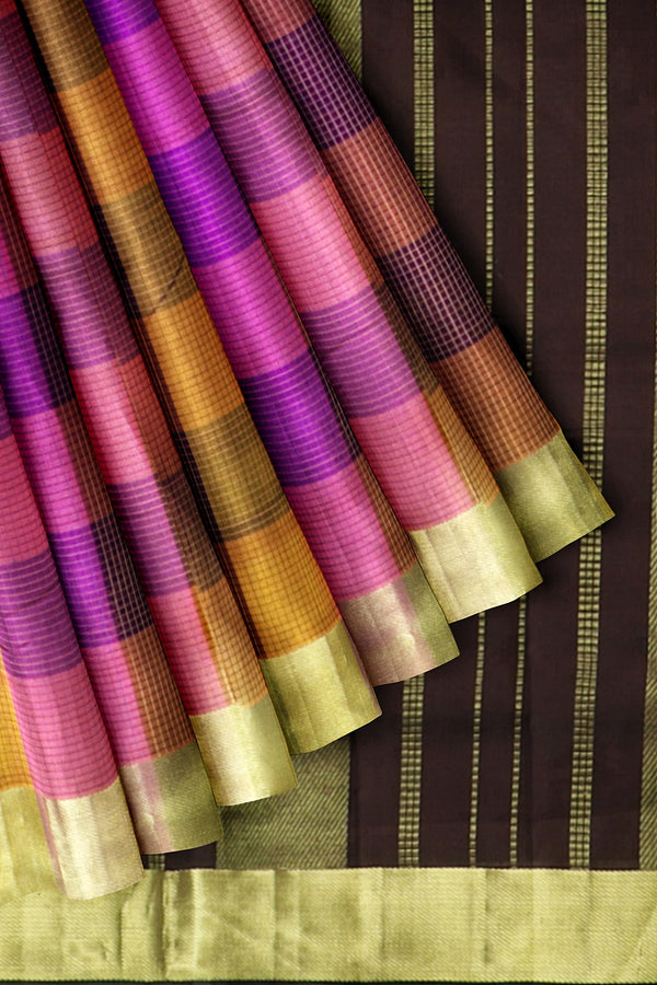 Silk Cotton Saree Multi color Paalum Pazhamum Checks with Small zari Checks and Brown with Zari Border