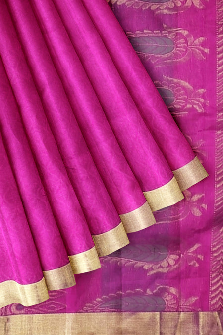 Silk Cotton Saree Jacquard Pink with Zari Border