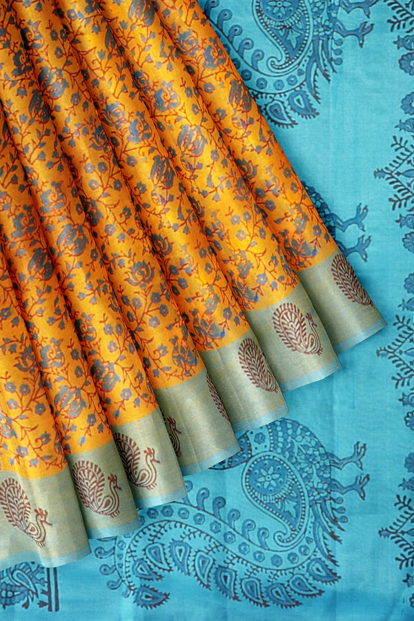 Printed Silk Cotton Saree Honey Color and Sky Blue with annam Border
