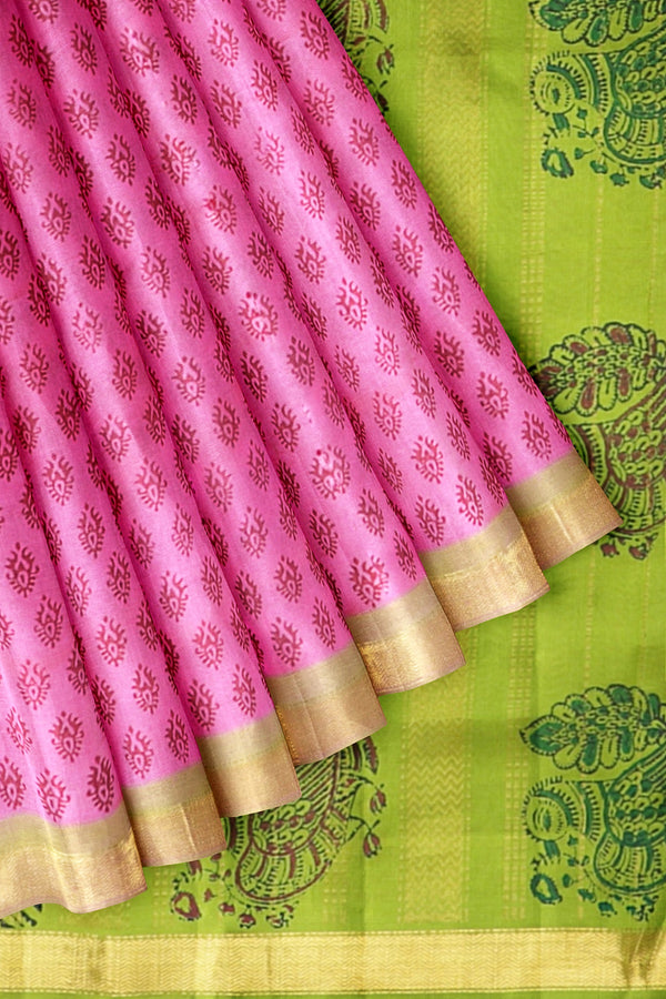Printed Silk Cotton Saree Light Pink and Mehandi Green with Wave Zari border