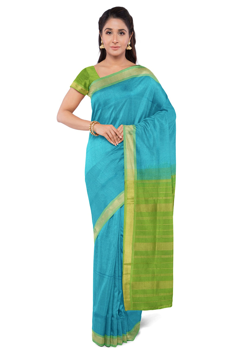 Silk Cotton Saree Sky Blue and Pear Green with Simple zari Border