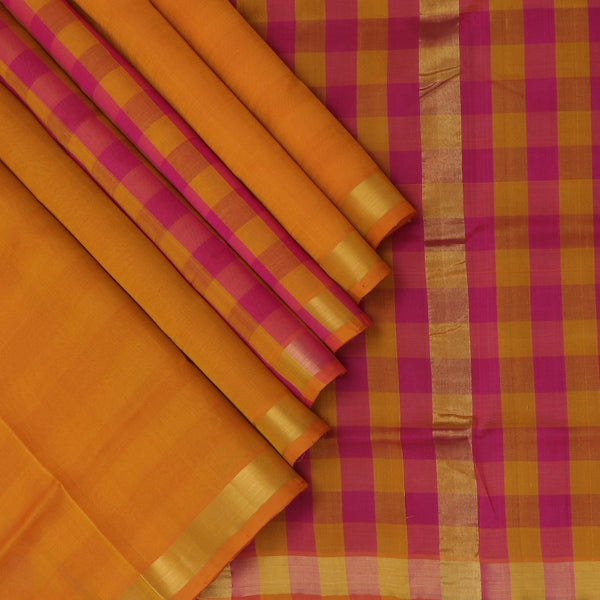 Silk Cotton Saree Yam Orange and Pink checks with Simple Zari Border Partly