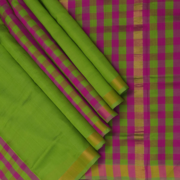 Silk Cotton Sareee Pear Green and checks pink with simple Zari Border Partly