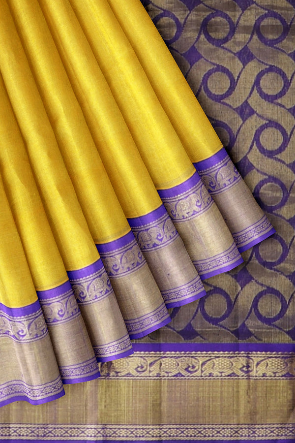 Silk Cotton saree yellow with violet korvai elephant zari border