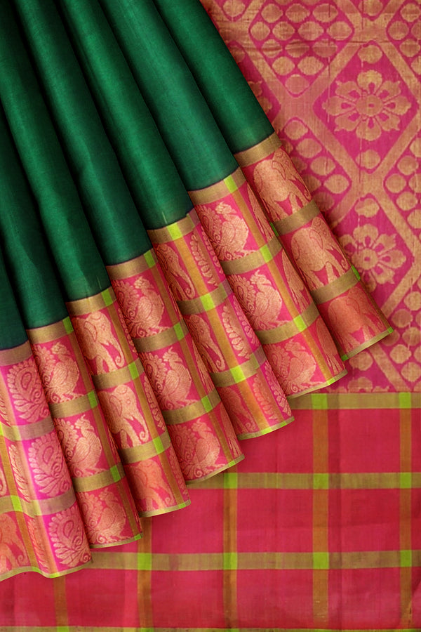 Kuppadam Silk Cotton Saree bottle green with pink long border with elephant and annam butta