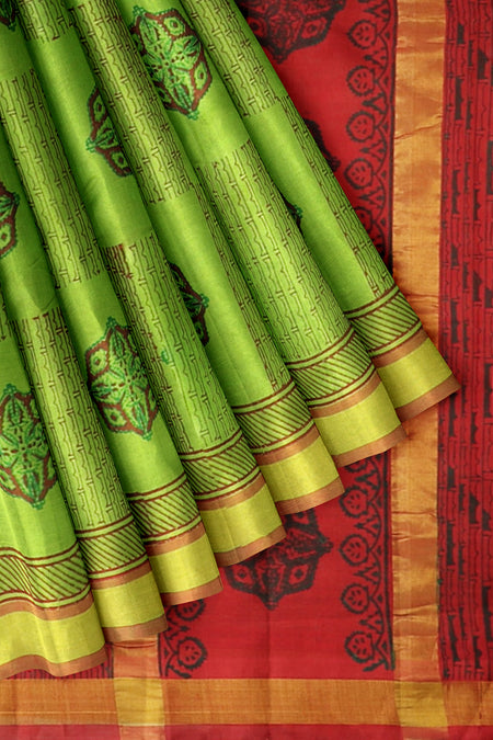 Hand Block Printed silk cotton saree Green with red contrast border and floral buttas
