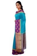 Kanjivaram Silk Saree blue and magenta with leaf and floral butta border for Rs.Rs. 6330.00 | Silk Sarees by Prashanti Sarees