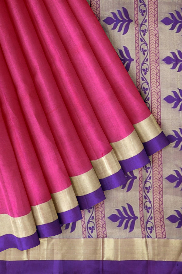 Kanjivaram silk saree pink with self emboss with purple bavanji border