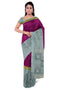 Soft Silk saree magenta with grey long border and geometric pattern pallu for Rs.Rs. 8530.00 | Silk Sarees by Prashanti Sarees