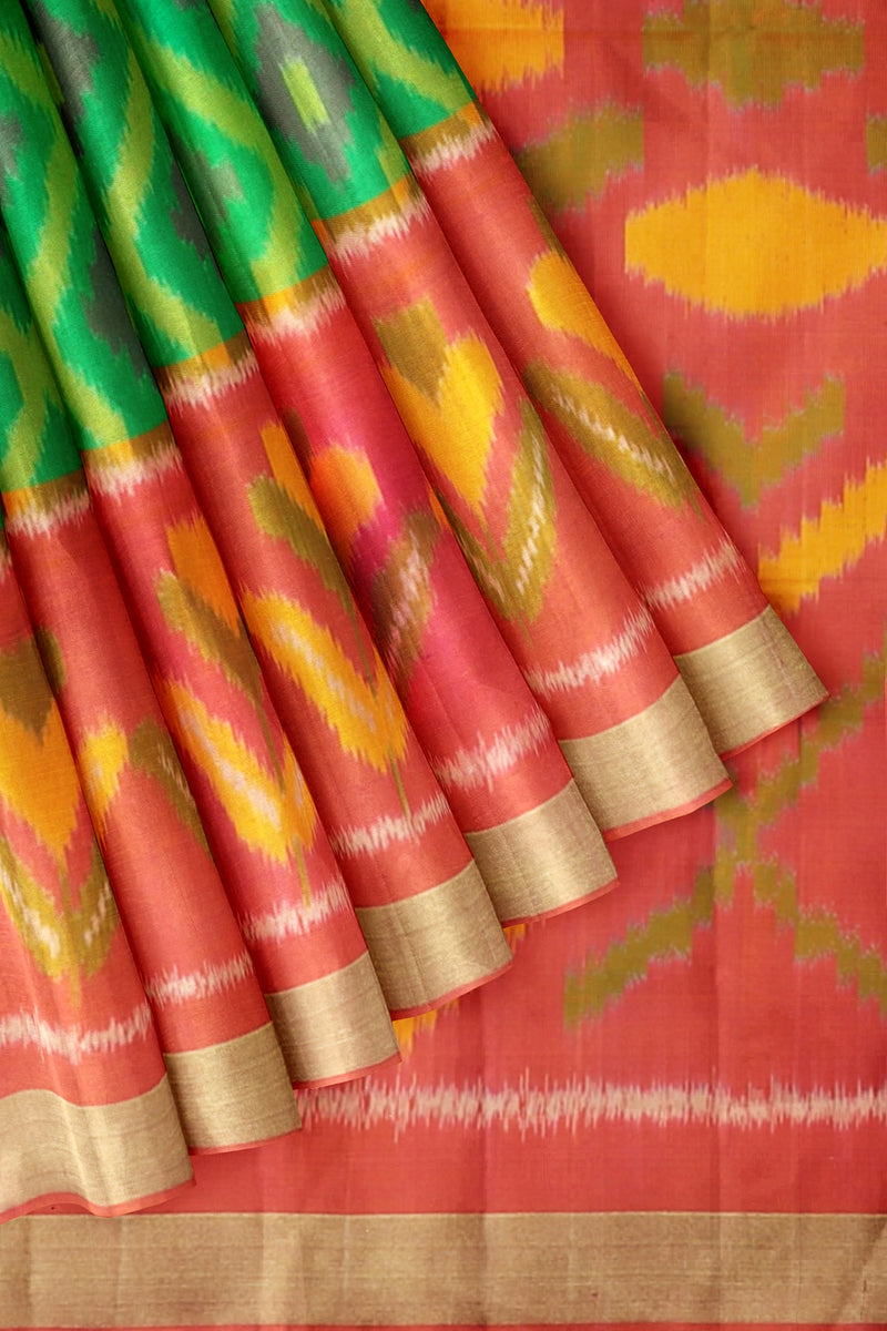 Soft Silk Saree green with orangish pink ikkat weaving