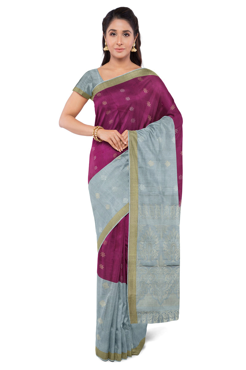 Soft Silk Saree magenta and grey half and half with silver and gold buttas