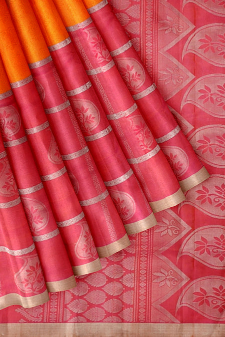 Soft Silk saree orange and pink long border with silver zari checked pattern