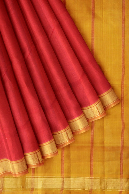 Silk Cotton Saree chilly red and yellow with simple bavanji border