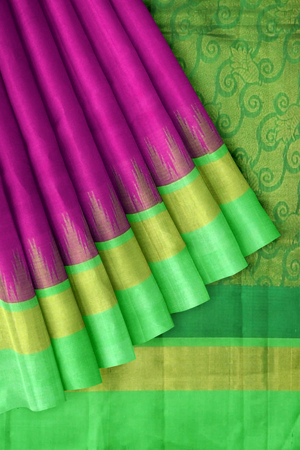 Silk Cotton Saree pink and green with temple thread silk border