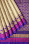 Silk Cotton Saree beige with violet silk border and temple thread weaving