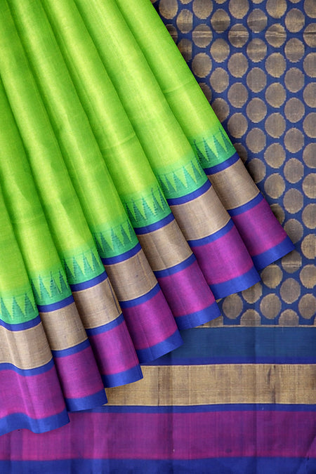 Silk Cotton Saree parrot green with violet silk border and temple thread weaving