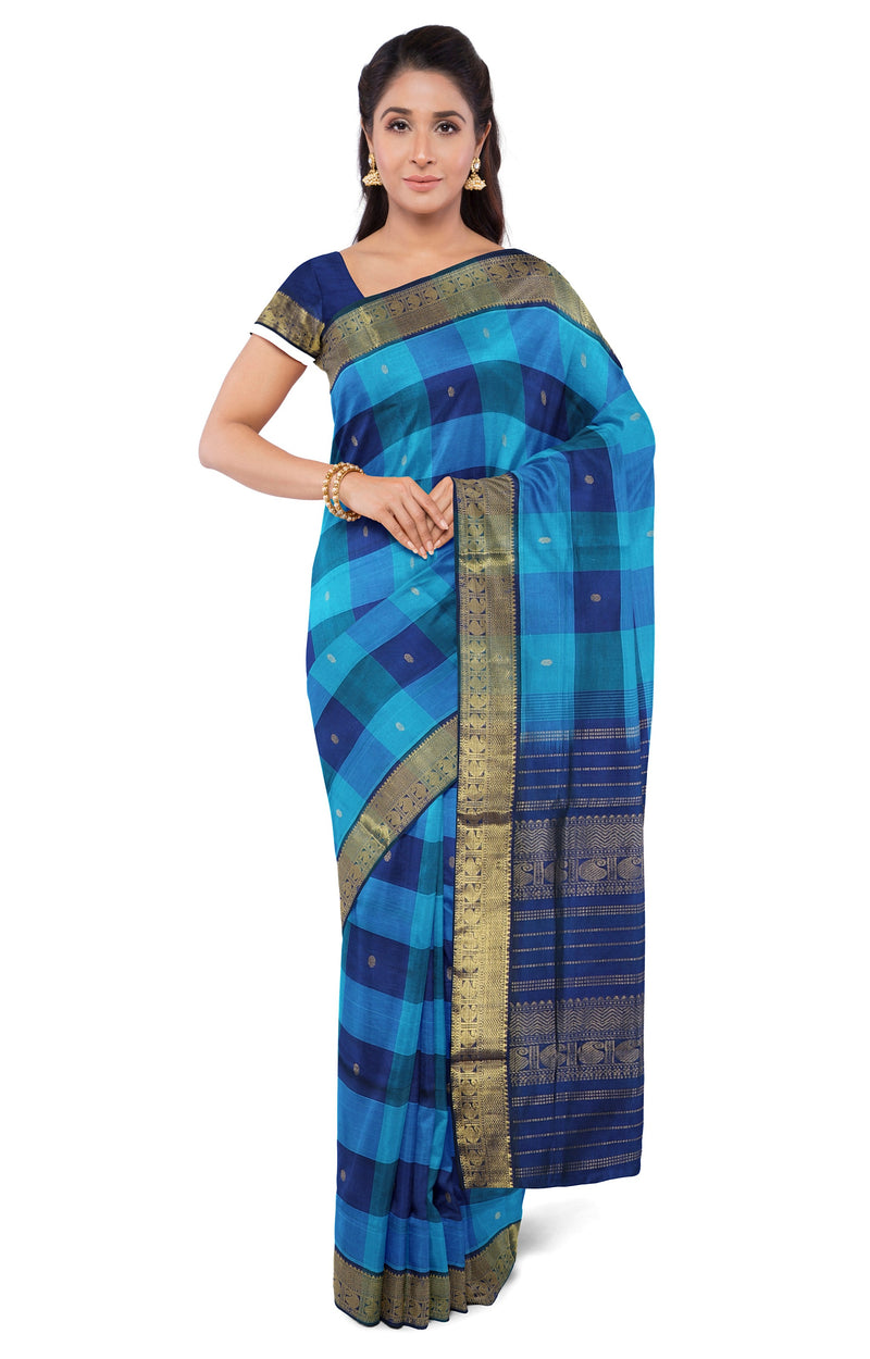 Silk Cotton Saree blue with navy blue paalum pazhamum checks for Rs.Rs. 3675.00 | Silk Cotton Sarees by Prashanti Sarees
