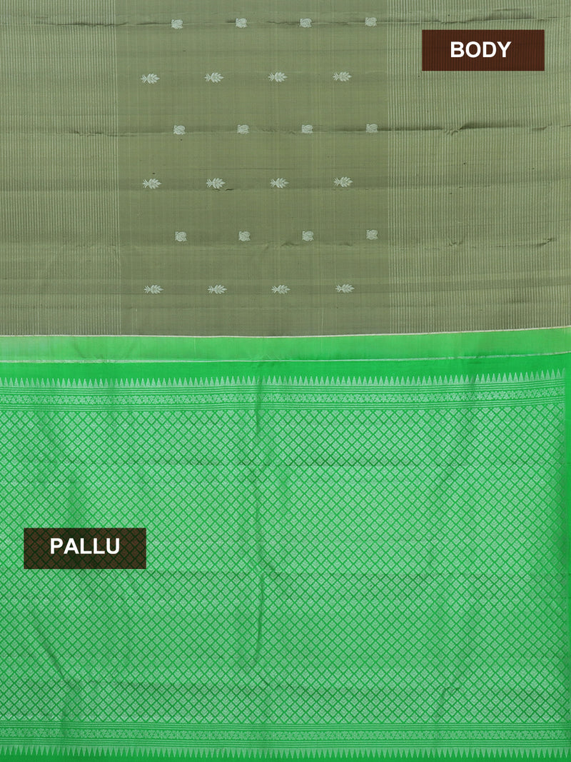 Pure Kanjivaram silk saree dual shade of olive grey and green with silver lines and buttas