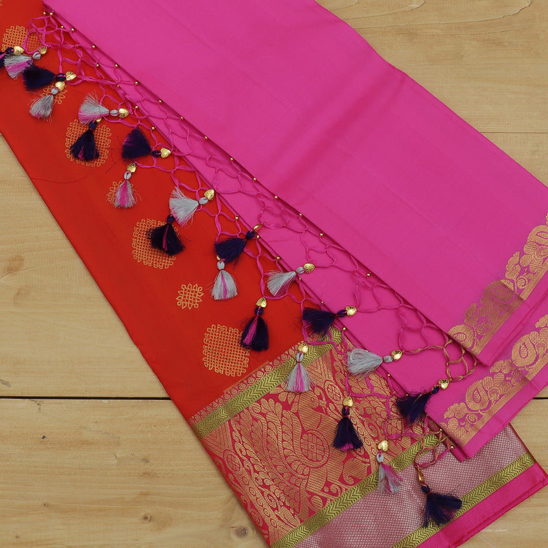 Pure silk half saree orange with allover gold & silver zari buttas and contrast pink blouse & Dupatta