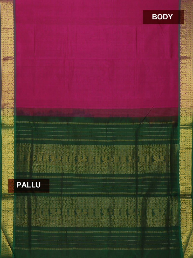 Silk Cotton Saree pink and green with floral paisley and annam border 10 yards