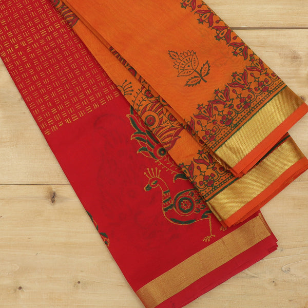 silk cotton half saree red with floral peacock block prints golden zari border and contrast orange dupatta