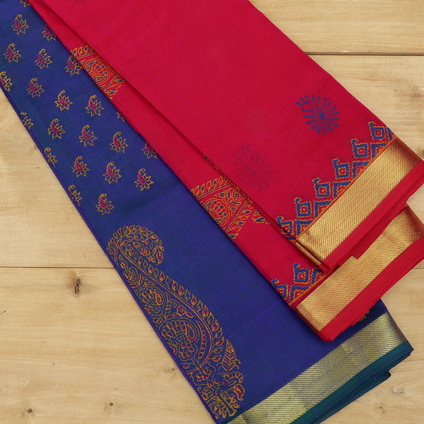 silk cotton half saree dual shade of peacock blue with paisley block prints golden zari border and contrast pink dupatta