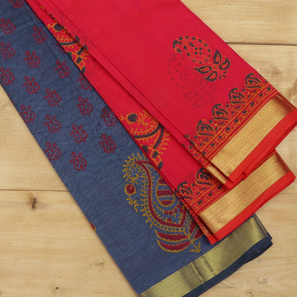silk cotton half saree grey with paisley block prints golden zari border and contrast dual shade of pink dupatta