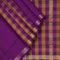 Silk Cotton Saree Violet and honey color with Small checked and simple zari border Partly