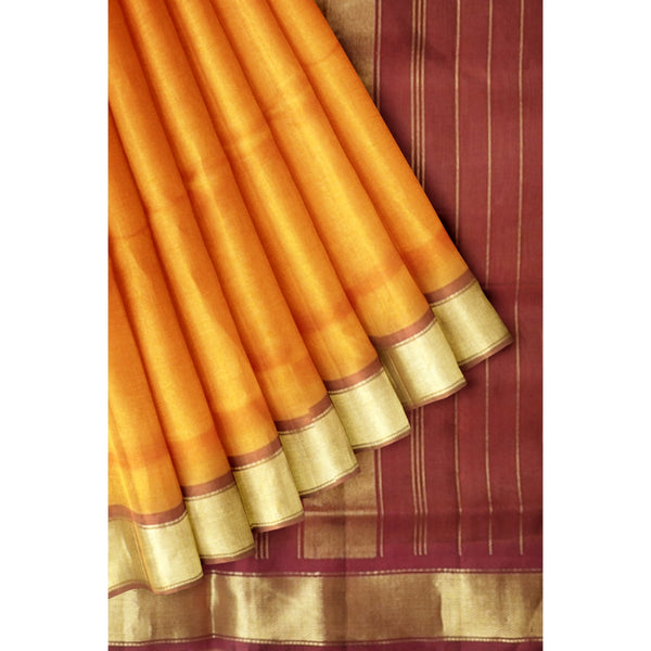 Silk cotton Saree Honey color with Zari border 9 yards