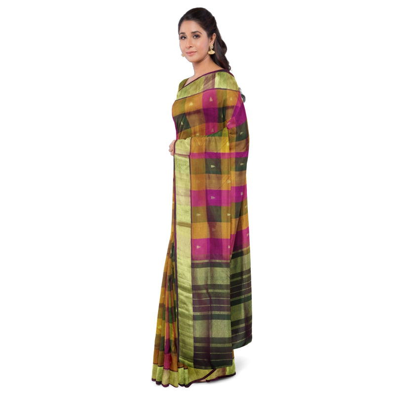Silk Cotton saree Multi color with Buttas and Zari border 9 yards