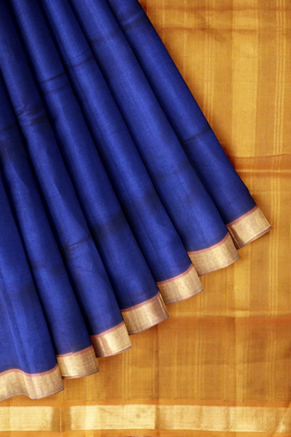 Silk cotton saree Blue and Mustard with simple Zari border