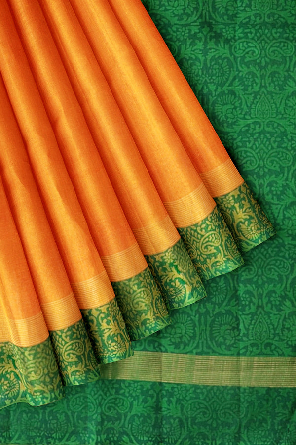 Printed Silk Cotton Saree Honey color and Dark Green with Zari Border