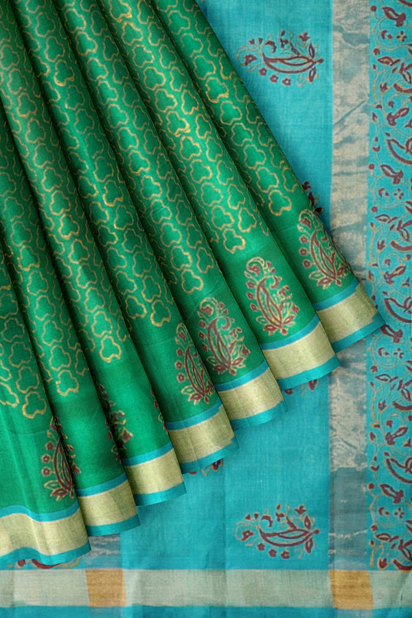 Printed Silk Cotton Saree Green and Sky Blue with Zari Border