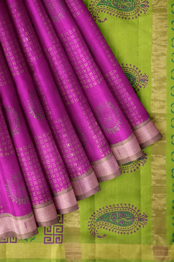 Printed Silk cotton Saree Pink and Pear Green with Zari Border