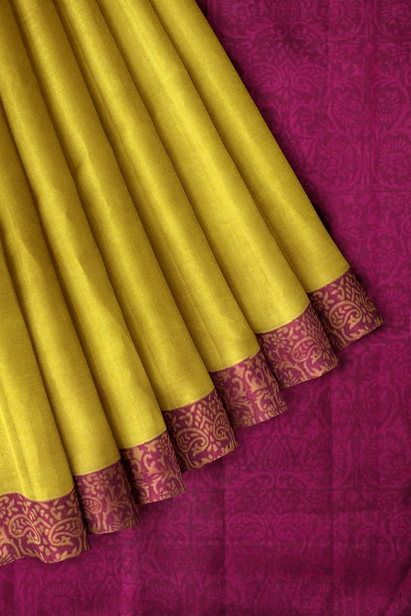 Printed Silk cotton saree Yellow and Pink with Floral Border