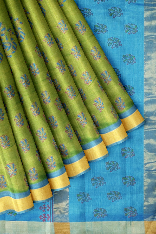 Printed Silk Cotton Saree Mehandi Green and Sky Blue with Zari border
